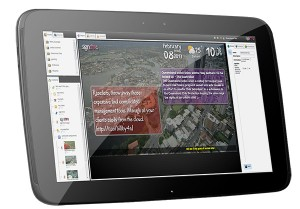 Signchro cloud management system displayed on a Nexus 10 tablet