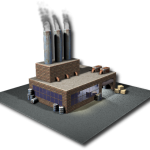 3d rendering of a factory