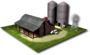3d rendering depicting a farmhouse.