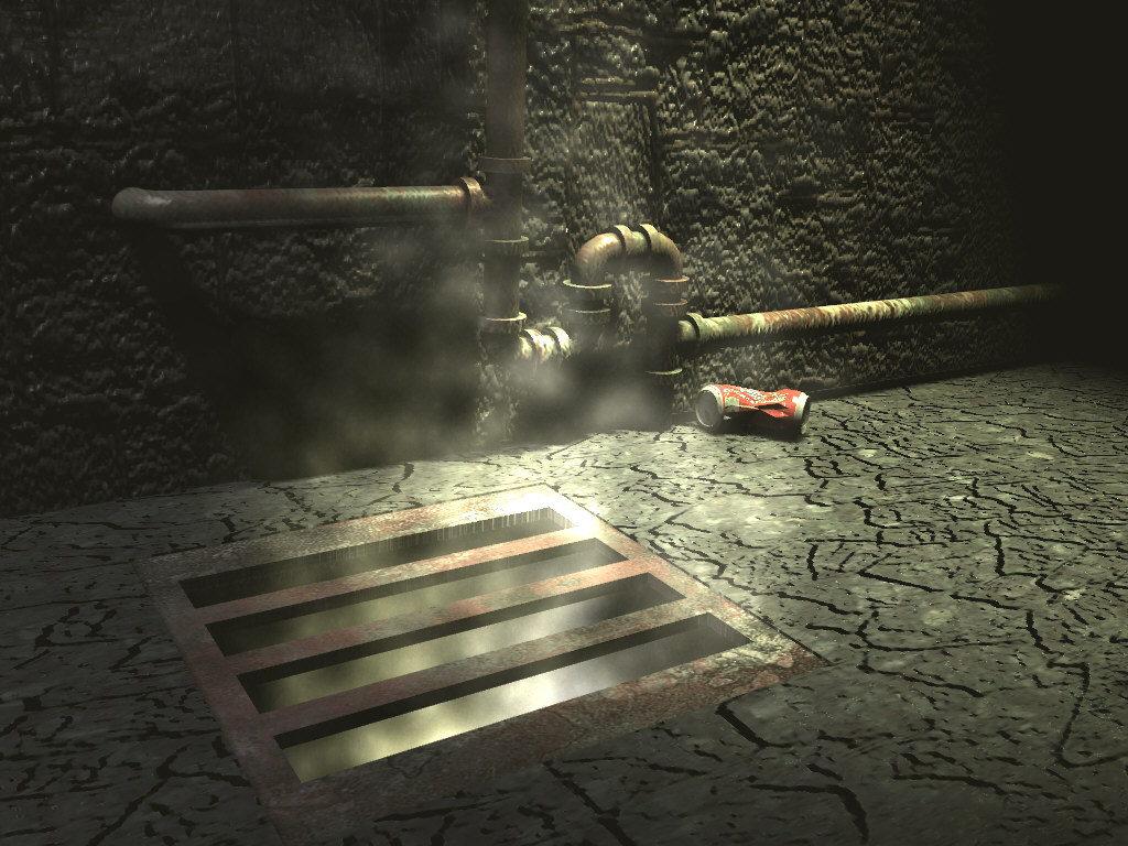 Alleyway grate with fog particles & bump maps.
