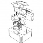 Unassembled technical drawing of Elbeano parts
